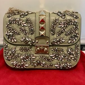 Valentino Glam Lock Embellished Shoulder Bag
